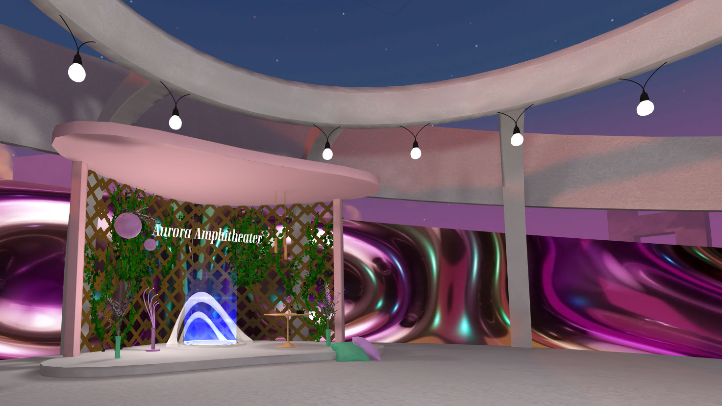 AltspaceVR screenshot: a teleport entrance to Aurora Amphitheater.