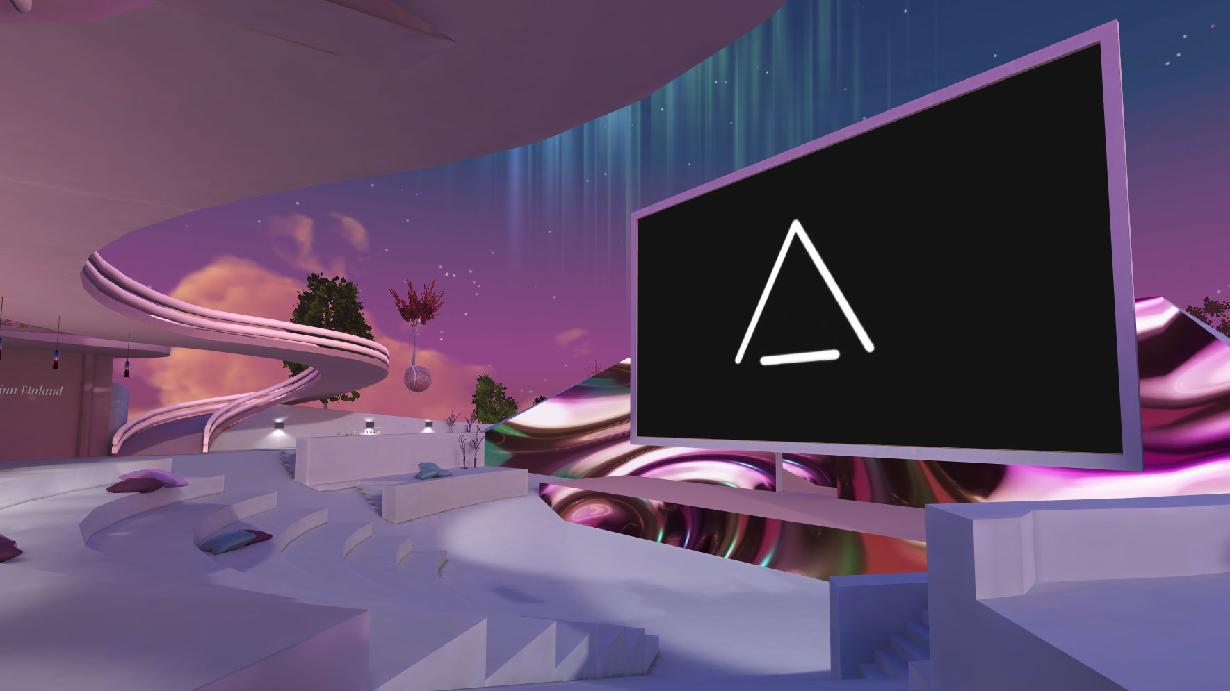 AltspaceVR screenshot: stage of Aurora Amphitheater, surrounded by northern lights.