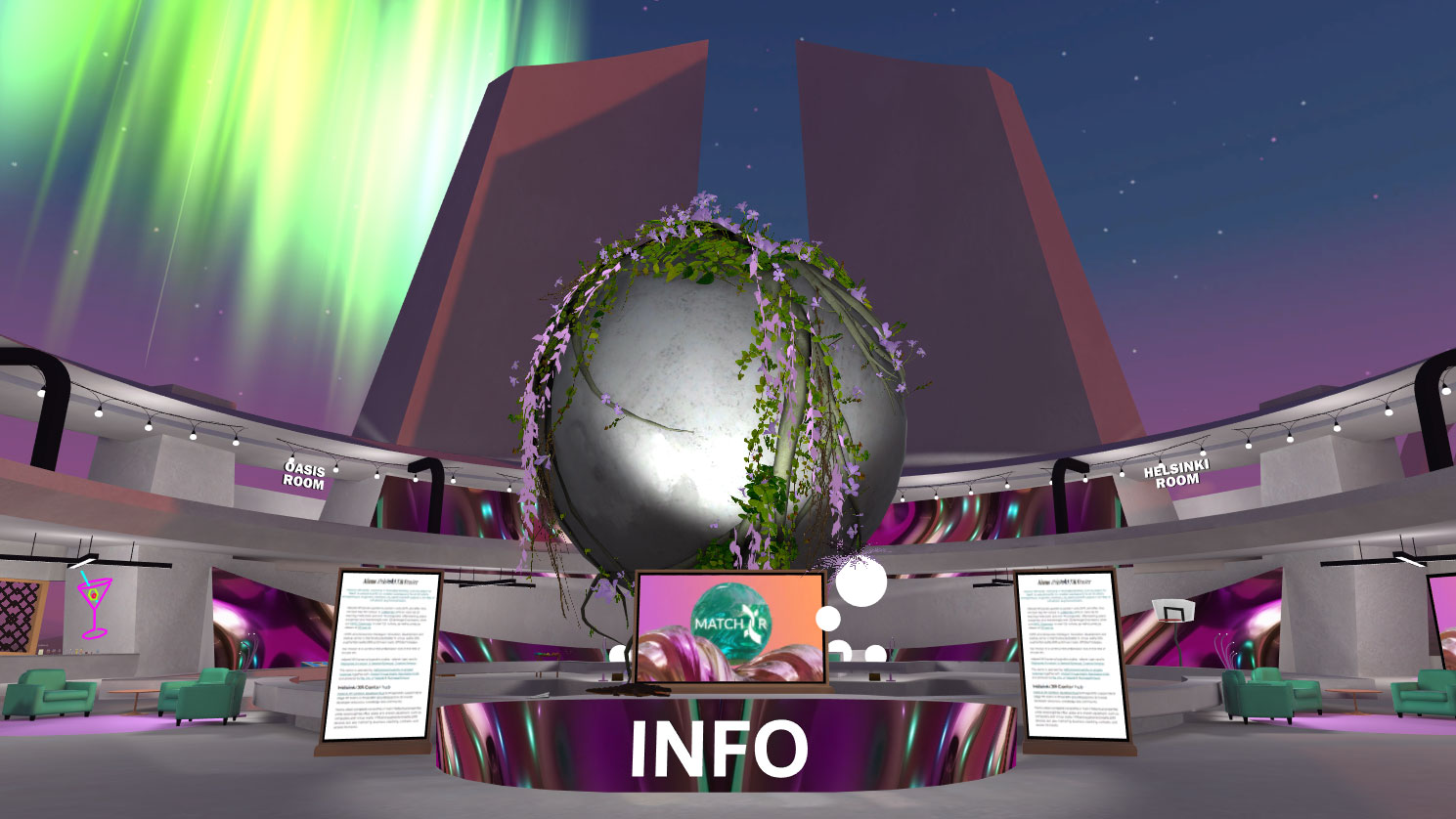 AltspaceVR screenshot: An information desk in the middle of a virtual venue.