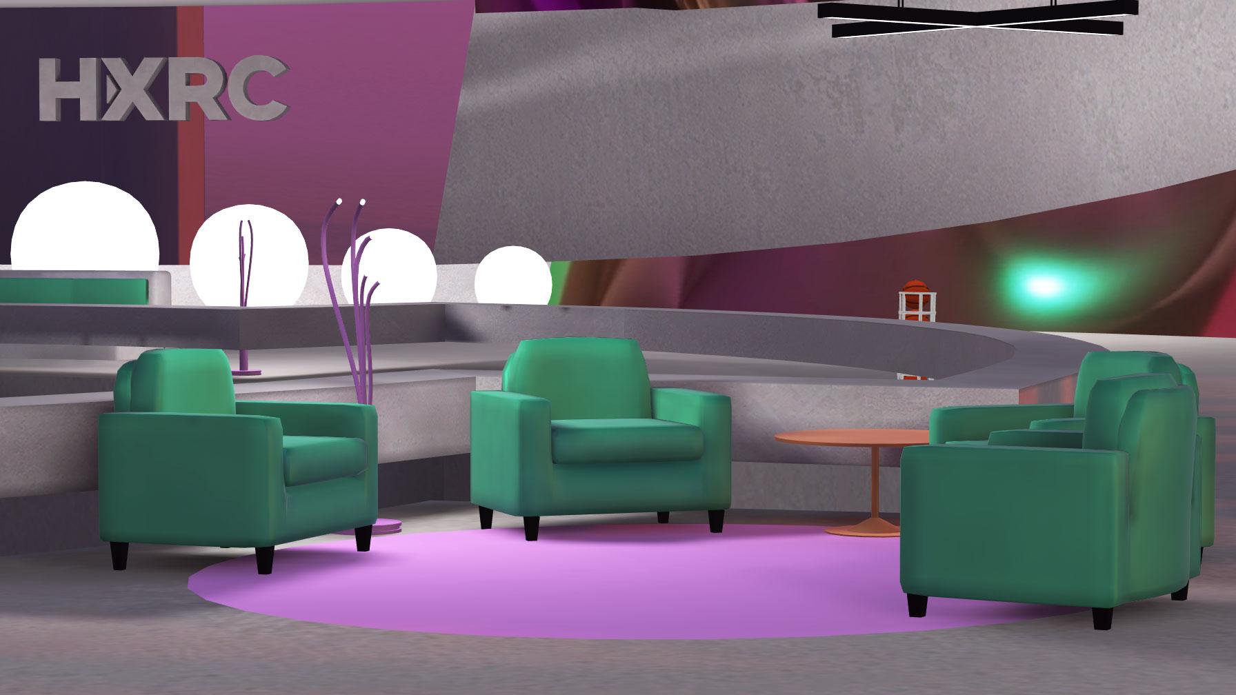 AtspaceVR screenshot: green couches in a virtual venue.